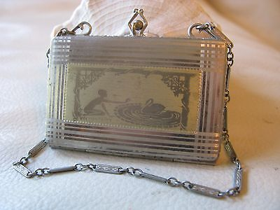 Antique Art Deco Silver & Gold Tone Engraved Woman & Swan Dance Compact 1920 R&F