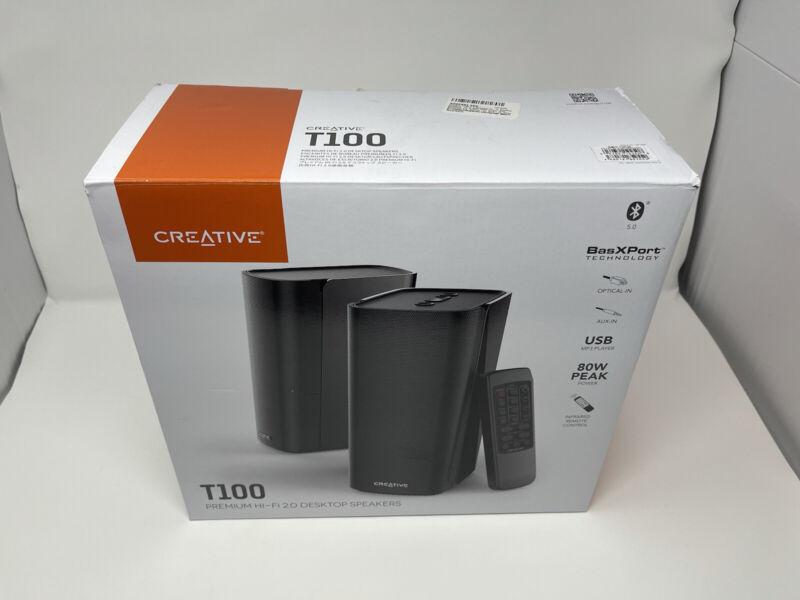Creative T100 2.0 Compact Hi-Fi Desktop Speakers Black