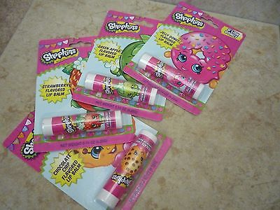 Shopkins 4 Packs of Flavored Lip Balm Strawberry Jelly Apple Chocolate Chip Apple Flavored Lip Balm