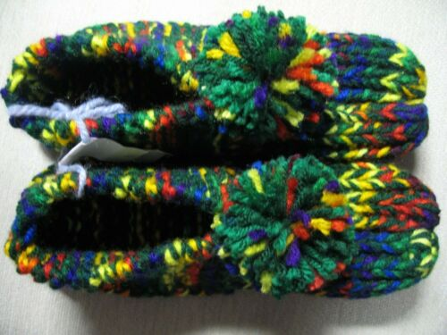 """New Handmade Slippers Hunter Green/Rainbow Colors Womans Sm/Med Mans X Sm 8 1/2"""""""