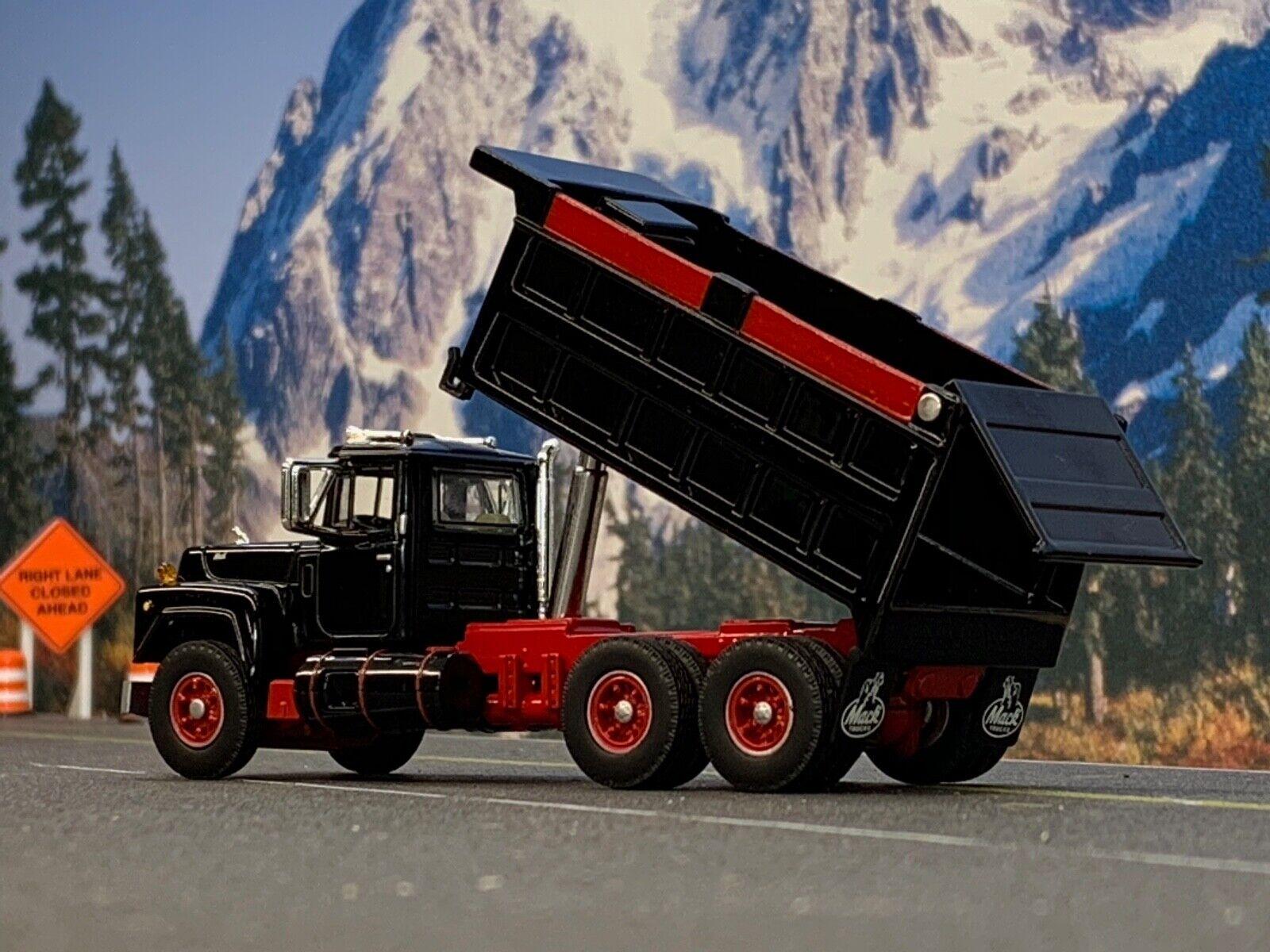 1/64 DCP FIRST GEAR BLACK/RED MACK R DUMP TRUCK 2