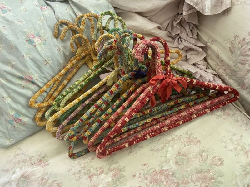 Vintage Clothes Hangers Hand Crochet Knitted Lot Of 20 Shabby Chic Bows