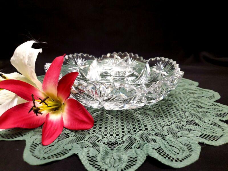 """American Brilliant Period Cut Glass Round Intricate Nut / Candy Bowl - 8 1/4"""""""