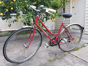 "Vintage Hillman step-through ""ladies"" red bike"