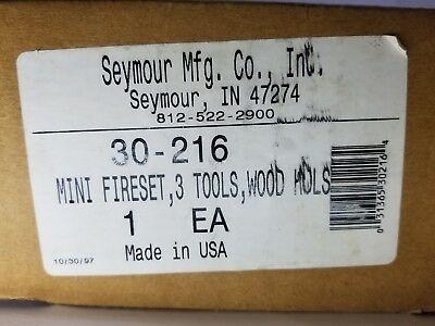 Seymour Manufact New in box Mini FIREPLACE POKER IRON SET & STAND FIRE TOOLS NOS ()