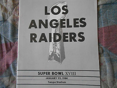 1984 Los Angeles Raiders Super Bowl Media Guide La 33 Xviii 1983 Oakland Nfl Ad