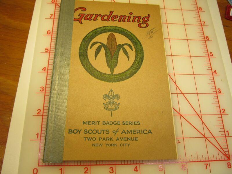Tan cover Gardening merit badge book January 1937 type (3B)