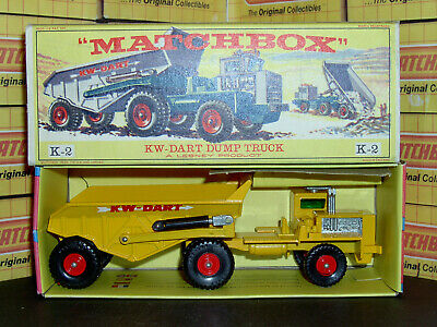 Matchbox Lesney KW Dart Dump Truck K-2-B King Size VNM & Original drawer box