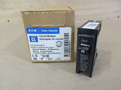 Box Of 10 Cutler Hammer Cl130 Circuit Breakers 30 Amp 1 Pole 120240 Volt