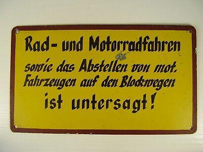 Antikes Blech Schild Rad und Motorradfahren ...auf Blockwegen untersagt vor 1945