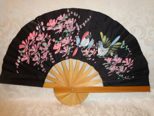 Antique Black Silk Hand Fan Bamboo Frame and Hand Painted Floral Bird Design