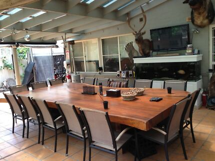 Solid Timber Slab Dining Table Set 4m Long - With 18 Chairs!