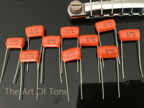 .047 400v ORANGE DROP CAP 716P - Copper Leads - Bulk Lot of Ten (10X)