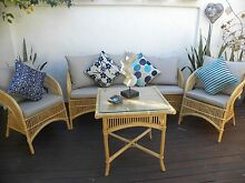 4 Pce Cane Lounge Suite Chairs +Table Furniture Set Rattan Broadbeach Waters Gold Coast City Preview