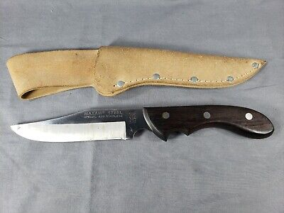 420 Stainless Steel Sheath - MAXAM Steel MX-1 Special 420 Stainless Fixed Blade KNIFE w/ Wood Handle & Sheath