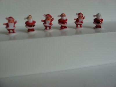 "6 vintage miniature tiny plastic Christmas Santa figures craft decoration 3/4"" C"