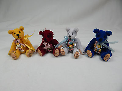 "World Of Miniature Bears Dollhouse Miniature 2.5"" Plush Bear 4 Pcs  #599LOT-B"