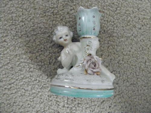 Vtg Porcelain Cupid Cherub PINK Rose  Candlestick HOLDER