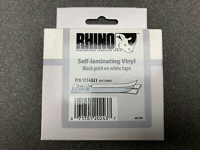 Dymo 24 Mm Rhino (DYMO/RHINO 24mm X 5.5m SELF LAMINATING VINYL BLACK PRINT ON WHITE TAPE. P/N:1734 )