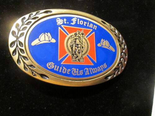 Solid Brass Vintage St Florian Guide Us Always Fire Department Belt Buckle 1990