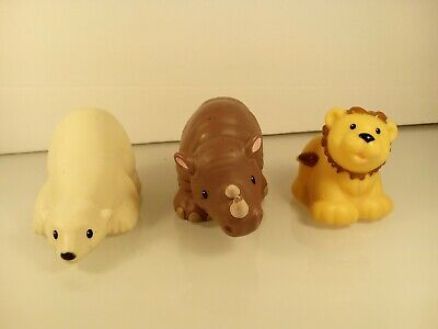 Fisher Price Little People Animals Zoo Talkers Lot of 3 Lion Rhino Bear M #55