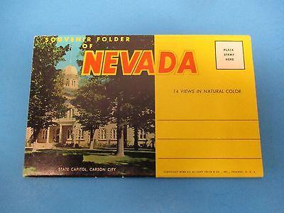 Vintage Souvenir Postcard Folder Nevada S491