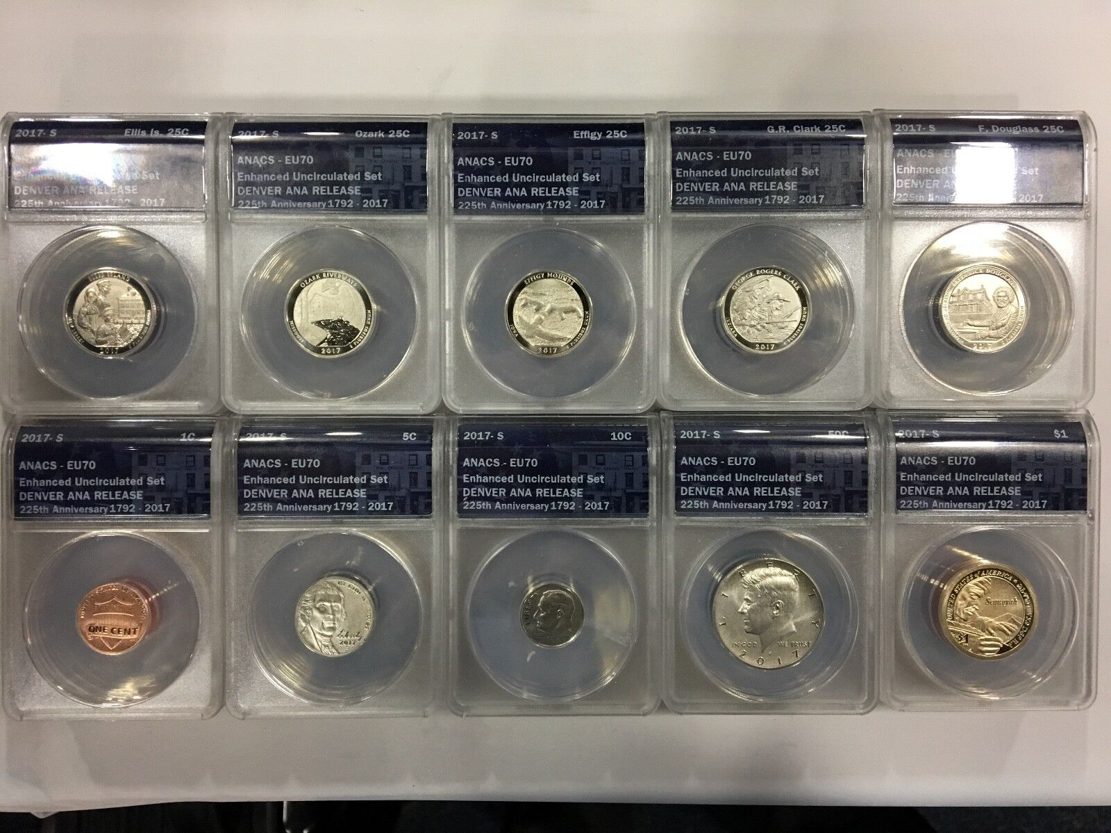 2017 S 225th Anniversary Enhanced Unc ANACS EU70 10 Coin Set Denver ANA Release