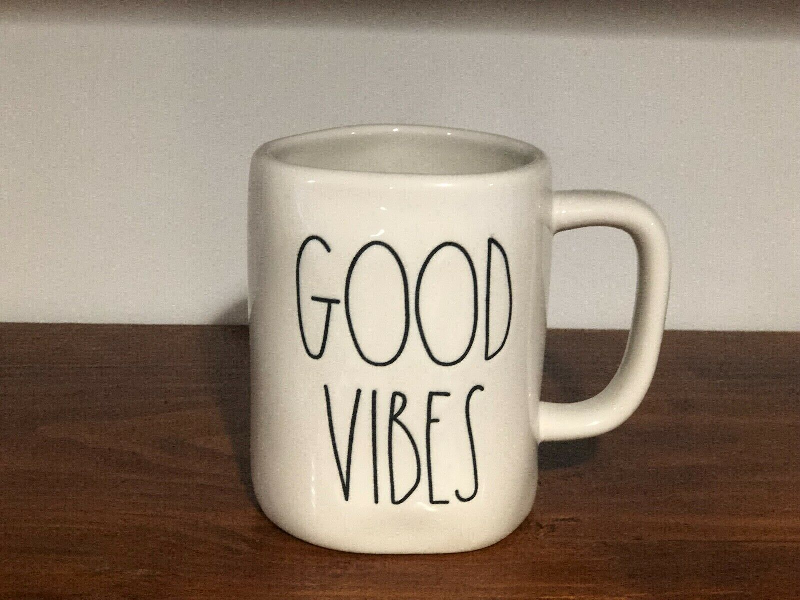 Rae Dunn Artisan Collection By Magenta Farmhouse LL Large Letter Coffee Tea Mug GOOD VIBES