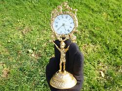 Antique/Vintage German Gold Gilt Brass Mantel Cherub Stand On Globe Alarm Clock