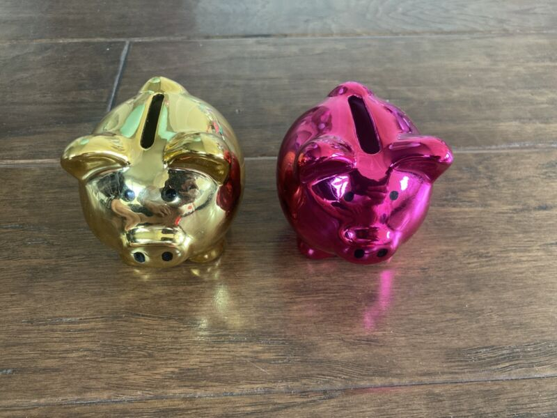 "Two (2) Mirrored Finished Ceramic Coin 3"" Piggy Bank Set (Hot Pink & Gold Color)"