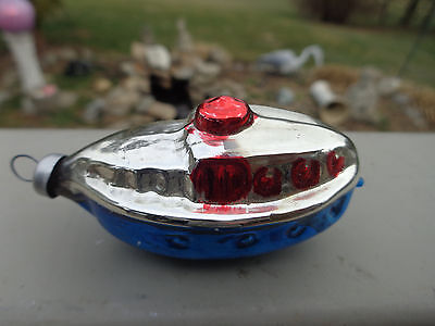 Vtg W German SUBMARINE Mercury Glass Red Silver Blue Christmas Ornament