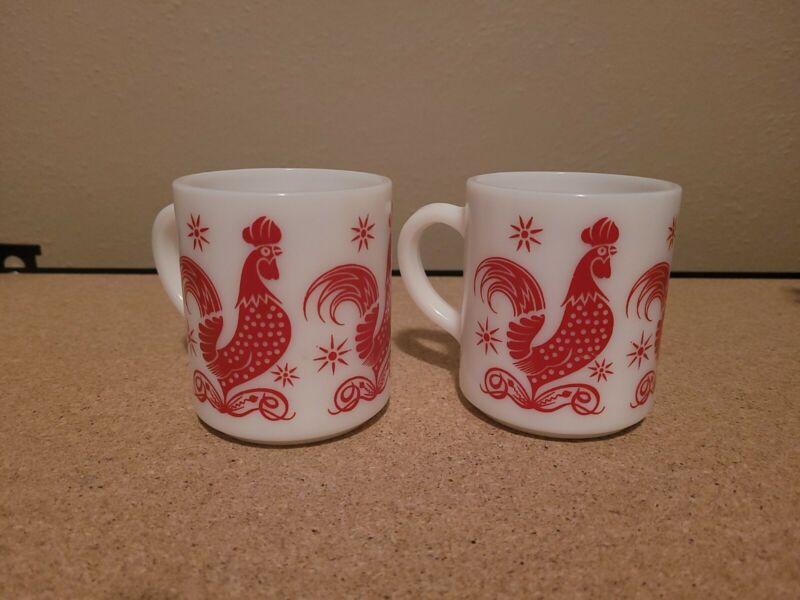 Hazel Atlas? Milk Glass Red Rooster Chicken Mug or Coffee Cup Vintage