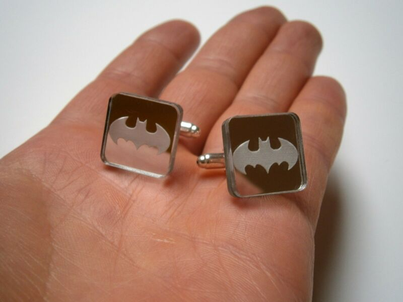 Batman Cuff Links, Laser Cut Rectangle Mirror Plastic mirror border