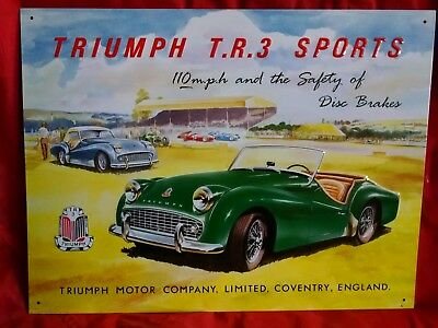 Triumph T R  3 Sports Convertible w Grill Logo BIG Vintage metal Sign ©1994
