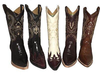 Men's Cowboy Boots Chameleon Print Leather Western Rodeo Botas Vaqueras -