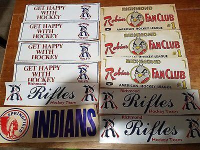 1970's Hockey Bumper Stickers Lot 12 Richmond Rifles Robins Hershey Bears