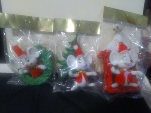 3 vintage ssco blowmold Christmas ornaments nos