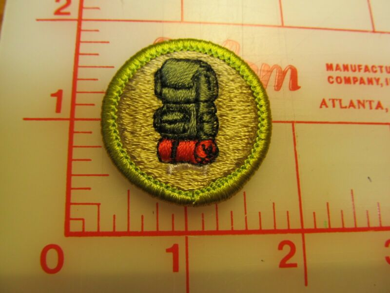 BACKPACKING merit badge plastic backed patch (oP)