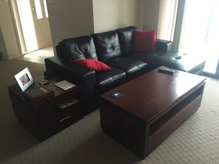 Black fully leather lounge with side table, coffee table,TV unit Hobartville Hawkesbury Area Preview