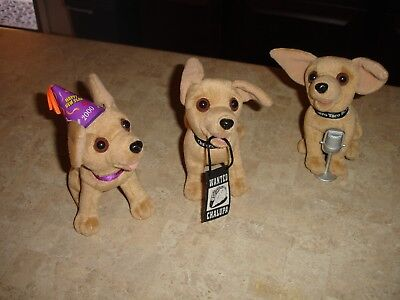 Vtg Set 3 Official TACO BELL CHIHUAHUA DOGS New Year 2000 & Wanted Chalupa, Mic