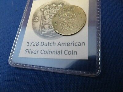 1728 Silver Early American Colonial Coin Before US Minted Coins FREE SHIPPING for sale  Center Line