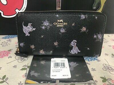 COACH Disney X Coach Accordion Zip Wallet With Dalmatian Floral Print 91743 BLK