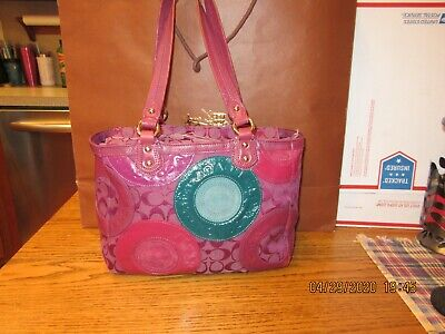 Coach Signature C Purple Leather Circle Satchel, Handbag, Purse, Shoulder Bag