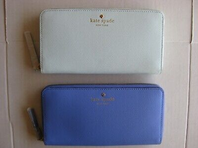 Kate Spade Lacey Mikas Pond Zip Around Leather Wallet Clutch Blue or Green NWT