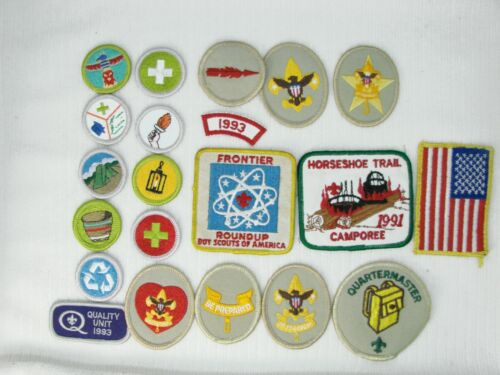 Lot of 20 Boy Scout Cloth Patches, 2 Leather Patches and Cloth Sash.
