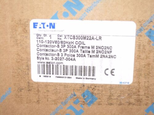 EATON Cutler-Hammer Magnetic Contactor  120VAC COIL 3 PHASE 300 A XTCS300M22A-LR