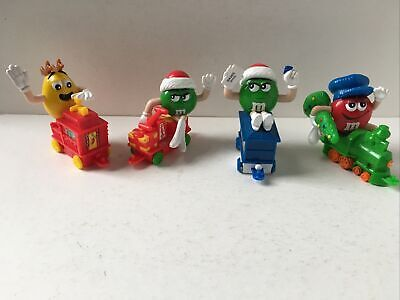 M&M's Christmas Holiday Train Series 1 Set Lot 4 Engine, Car 3, 5 & Caboose Red