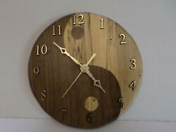 Wood clock, yin yang, walnut and spalted maple, 8 across hand made