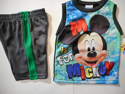 Mickey Mouse Boys outfits Baby Boys shirts Shorts Clothes 2 Pc Set 18-24 mos
