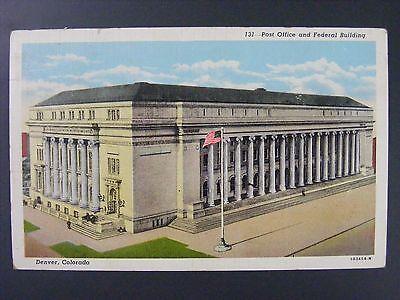 Denver Colorado Post Office Federal Building Vintage Color Linen Postcard 1944